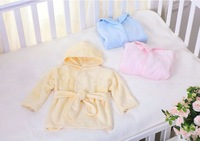 Baby Robe 70% bamboo fiber 30% cotton  70 cm 80 cm height pink blue yellow colors small wholesale
