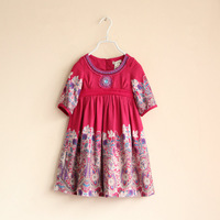 DS3313  (2-11Y)  girls dress lantern cuffs print mid sleeve double layer dress cotton dress for girl free shipping