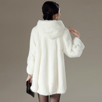 2013 female mink coat mink fur coat women long section hooded coat Free shipping