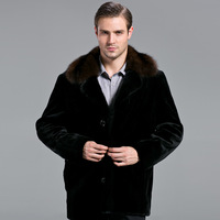 2013 New Arrival mink fur coat mink male open collar men winter coat jacket Free shipping