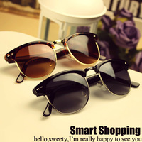 Vintage Star Style Women Men's Metal Frame Oversized Frog Sunglasses High Fashion Designer Brands 2013 New Free Shipping