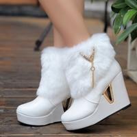 Platform wedges high-heeled boots women's shoes snow boots platform wedge boots rabbit fur boots