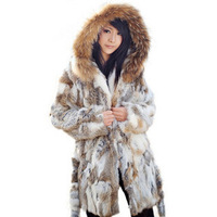 2013 new autumn and winter ladies 100% real natural rabbit fur coat hood medium-long, P20