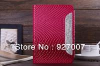 2014 Luxury snake design  with shiny diamond leather case for ipad mini2
