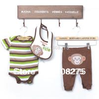 New 2014 Carter's Baby Boys 3 pcs clothing set Baby Carters Bib + Bodysui + long Pants Baby boy romper Bibs with Lovely Monkey