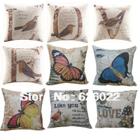 2013 New Fashion Vintage Cotton Linen Pillowcase Cushion Cover Lumbar Pillow Love Animal Prints Free Shipping
