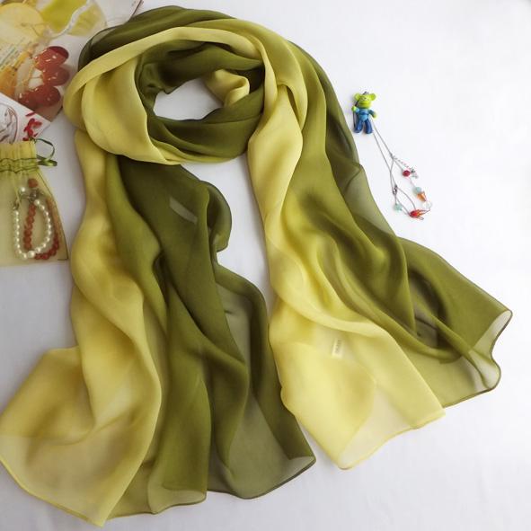 Silk chiffon silk scarf yellow green mulberry silk scarf long design female spring and autumn Army Green scarf cape(China (Mainland))