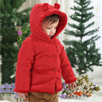 Baby boy clothes 0-1 year old baby clothes winter red girls clothing infant wadded jacket thickening outerwear