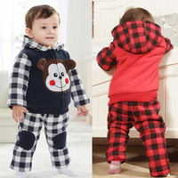 Winter baby clothes female baby winter children's clothing infant boy clothes plus velvet baby boy set