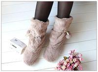 Home floor warm and comfortable boots shoes cute plush ball Flooring boots EU35-40 White RU099