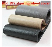 Free Shipping! 2013 hot sale 1pcs DIY Leather Car steering wheel cover/Car Interior Accessories/ 3 color to choice for Winter