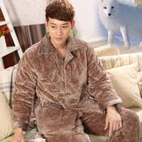 2014 winter coral fleece mink velvet flannel quality plus cotton thickening plus velvet thermal underwear male sleepwear