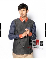 Male patchwork color block decoration patchwork oxford shirt fabric