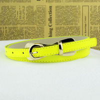 Bow pin buckle strap flat women's thin belt decoration small strap cronyism neon color