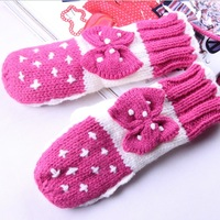 2013 autumn and winter knitted yarn gloves women's gloves bow all-match thermal gloves
