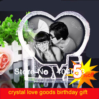 New arrival crystal wedding gift brithday gift colour printing laser engraving photo custom made carving words free shipping