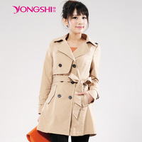 Autumn trench medium-long slim double breasted women's trench outerwear women's 3c2709