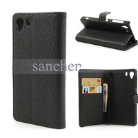 5 color  Litchi Leather Stand Case Cover Wallet for Sony Xperia Z1 Honami C6903 C6902 C6943 L39h + film  FreeShipping
