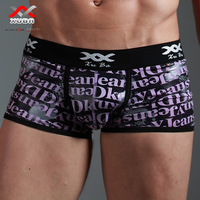 Free shiping,(2pcs/lot), Panties male panties low-waist male sexy silk panties trunk letter print panties male