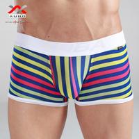 Free shiping,(2pcs/lot), Trend stripe plus cotton milk, silk male sexy panties trunk