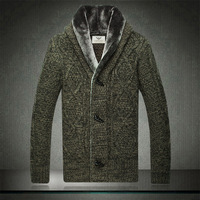 New arrivel 2013 fashion brand sweater Men Fur Collar outerwear warm wool Cashmere Cardigan jacket winter coat Sweater 0710