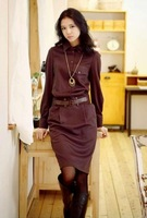 2012 autumn women's fashion fork long-sleeve slim one-piece dress winter skirt with belt