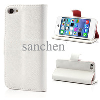 white Litchi Grain Wallet Style Folio Leather Stand Case for iphone 5c + film  FreeShipping