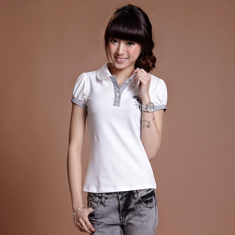 2013 summer women's white casual turn-down collar puff sleeve slim female short-sleeve t-shirt preppy style(China (Mainland))