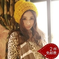 Hat female autumn and winter handmade coarse knitted hat ear protector cap beret knitted hat