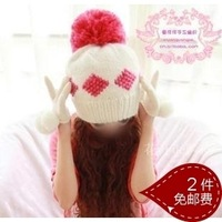 Hat female autumn and winter handmade knitted hat pineapple hat large sphere knitted hat