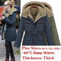 2013 Winter Fashion Slim Wadded Overcoat Female Thick Liner Cold-Proof Cotton-Padded Jacket Baon Outerwear Parka 6206