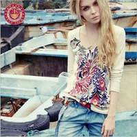 Fashion Women's Leisure V-Neck Shirt Hand Drawing Peacock Long Sleeve Shirts Tops Free Shipping