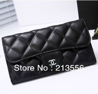 Hot Selling Brand Wallets  For Women Genuine Leather Wallets Plaid Purse Style Fashion Sheepskin BlacK Wristlet Silver Wristlet