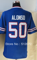 #50 Kiko Alonso Men's Game Team Blue Football Jersey