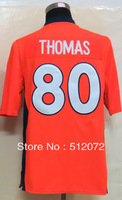 #80 Julius Thomas Men's Game Team Orange Football Jersey