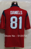 #81 Owen Daniels Men's Game Alternate Red Football Jersey