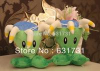 Resaile And Wholesale! 1PCS  2014 Kids Popular Toys Plush Dolls Plants VS Zombles Mini 17CM Lovely Sutffed Gatling Pea Toys