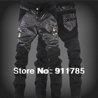 2014 new fashionable washed skinnySpliced leather pants men, casual slim fit mens feet Stitching leather pants,28-36