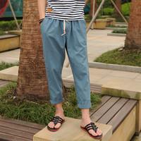 Breathable male casual pants harem pants fluid linen pants ankle length trousers pants