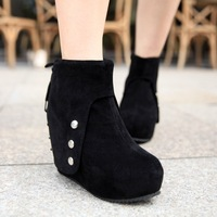 boots for women Velvet Women all-match rivet high platform wedges single shoes martin women's shoes