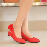 Flat shoes Wedges high heel wedding shoes red gold wedding shoes wedding shoes flower bridal shoes cheongsam shoes