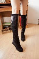 2013 Female boots Spring and autumn elastic velvet over-the-knee long    rhinestone fashion wedges elevator taojian   shoes