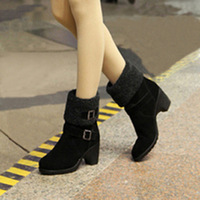 boots for women 2013 spring and autumn boots fashion lacing thick heel  high-heeled martin boots ankle-length  genuine leather
