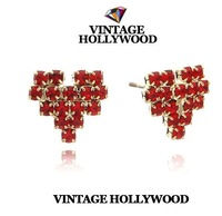 Wholsale vintage hollywood, red heart earring, red crystal bijoux 12 pairs / lot  FREE shipping