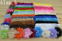 43 Lots Hair accessory baby girl 26 Crochet Headbands & 17 Pearl Center Chiffon flower clips