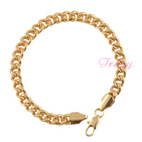 7mm Mens Womens 18K Yellow Gold Filled Curb Bracelet Bangles Chain Both Side Can Wear Wholesale Retails Jewelry
