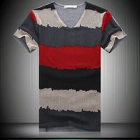 2013 summer men's clothing short-sleeve T-shirt male the trend slim v-neck T-shirt basic shirt male clothes