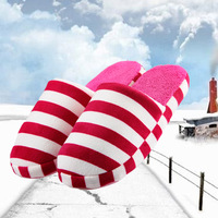 Hot-selling winter stripe home to marry lovers cotton-padded slippers at home