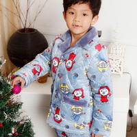 Child children's clothing 2012 male child winter lounge child thickening coral fleece cotton-padded sleep set