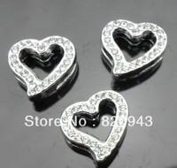 wholesale 100pcs/lot 8mm rhinestone heart slide charm fit for 8mm diy jewelry findings